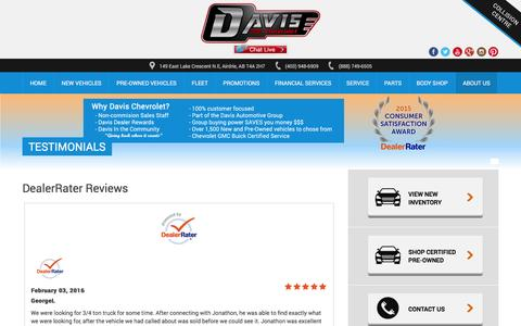 Screenshot of Testimonials Page davischev.com - Testimonials - Airdrie GM - captured Feb. 8, 2016