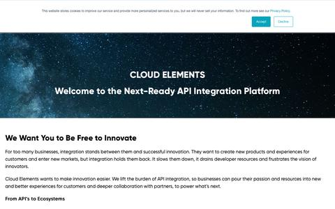 Screenshot of About Page cloud-elements.com - About | Cloud to Cloud API Integrations | Cloud Elements - captured July 20, 2019
