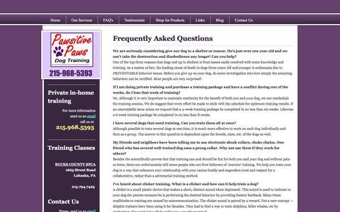 Screenshot of FAQ Page lindaspawsitivepaws.com - Pawsitive Paws Dog Training - FAQ's - captured Oct. 28, 2016