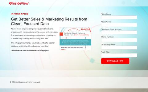 Screenshot of Landing Page insideview.com - Get Better Sales & Marketing Results from Clean, Focused Data Infographic - InsideView | Registration - captured Oct. 20, 2016
