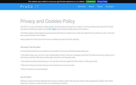 Screenshot of Privacy Page proco-it.com - ProCo IT - captured July 16, 2016