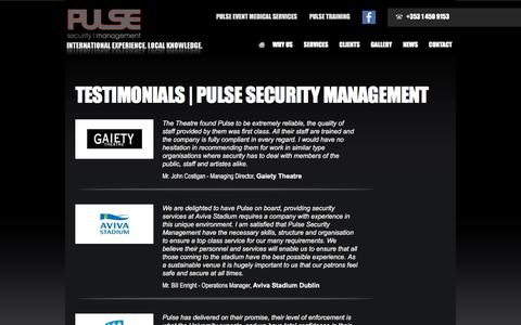 Screenshot of Testimonials Page pulsesecurity.ie - Testimonials | Pulse Security Management - captured Feb. 2, 2016