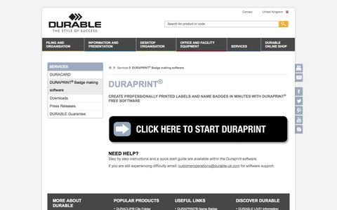 Screenshot of Services Page durable-uk.com - Duraprint - DURABLE - captured Oct. 11, 2017