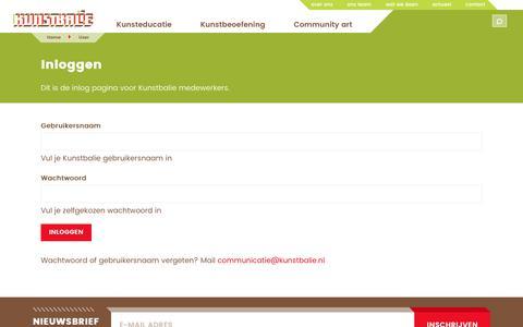Screenshot of Login Page kunstbalie.nl - Inloggen   Kunstbalie - captured Sept. 20, 2018