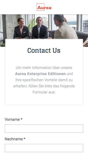 Aurea Enterprise Edition - Kontaktanfrage | Aurea