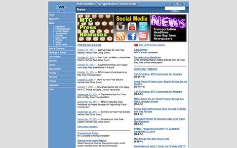 Screenshot of Press Page ca.gov - MTC -- News - captured Oct. 27, 2014