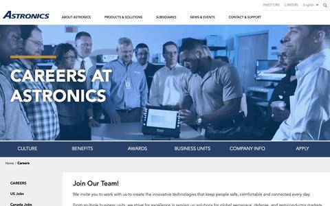 Screenshot of Jobs Page astronics.com - Careers | Astronics - captured Dec. 18, 2018
