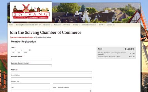 Screenshot of Signup Page solvangcc.com - Join Solvang Chamber of Commerce - Solvang Chamber of Commerce - captured Jan. 3, 2017