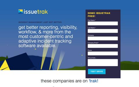 Screenshot of Landing Page issuetrak.com - The only Incident Management software you'll ever need. - captured April 3, 2017