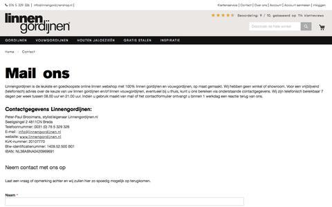Screenshot of Contact Page linnengordijnenshop.nl - Contact Us - captured Aug. 16, 2017