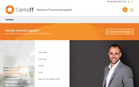 Screenshot of Support Page capitalits.com.au - IT Helpdesk and Managed Services | Contact Us Page - captured Sept. 26, 2018