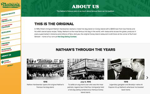 Screenshot of About Page nathansfamous.com - About Us | Nathan's Famous - captured July 3, 2017