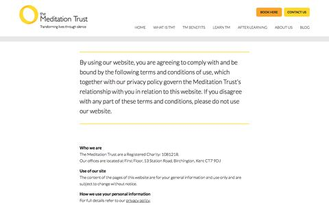 Screenshot of Terms Page meditationtrust.com - The Meditation Trust - Terms & Conditions - captured Oct. 23, 2017