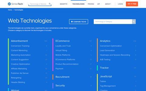 Screenshot of similartech.com - Web Technologies - captured March 19, 2016