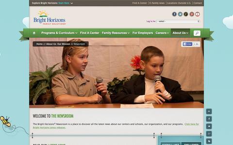 Screenshot of Press Page brighthorizons.com - Company, Child Care & Education News   Bright Horizons¨ - captured Jan. 7, 2016