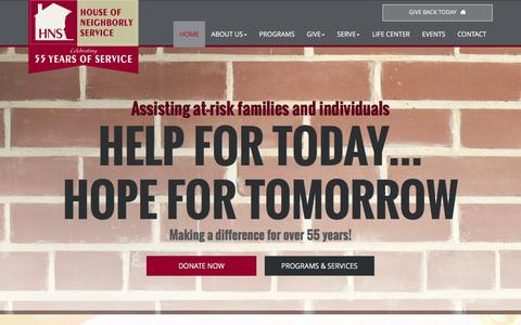 Screenshot of Home Page honservice.org - House of Neighborly Service | Assistance Services - captured Feb. 1, 2016
