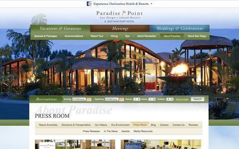 Screenshot of Press Page paradisepoint.com - San Diego Hotels & Resorts Press Room | Paradise Point Resort & Spa - Press Room - captured Sept. 25, 2014