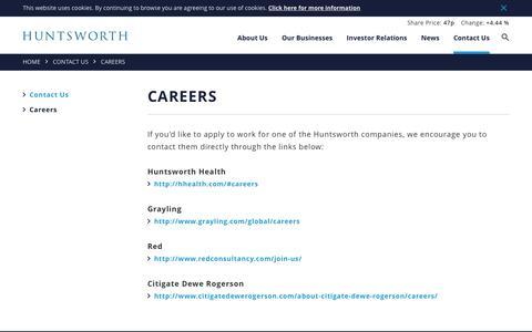 Screenshot of Jobs Page huntsworth.com - Careers   Huntsworth - captured May 21, 2016