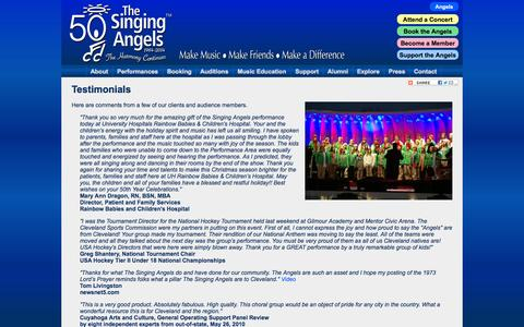 Screenshot of Testimonials Page singingangels.org - Cleveland's Own Singing Angels - Make Music, Make Friends, Make a Difference - captured Oct. 9, 2014