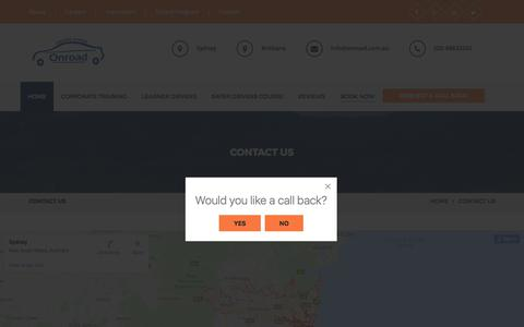Screenshot of Contact Page onroad.com.au - Contact Us | Onroad Driving School Sydney, Driving Lessons, Driving Instructors - captured June 4, 2018