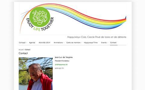 Screenshot of Contact Page happyways.be - HappyWays Club, Cercle Privé de loisirs et de détente - Contact - captured Oct. 6, 2014