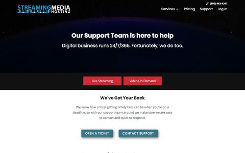 Screenshot of Support Page streamingmediahosting.com - Streaming Media Hosting's experts are standing by 24/7 - captured Sept. 21, 2018