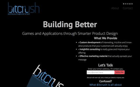 Screenshot of Home Page bitcrush.co - Smarter Product Design // Bitcrush - captured Sept. 26, 2014