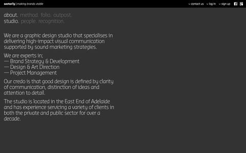 Screenshot of About Page sector7g.com.au - Studio: sector7g | making brands visible | Graphic Design Studio Adelaide - captured Oct. 9, 2014