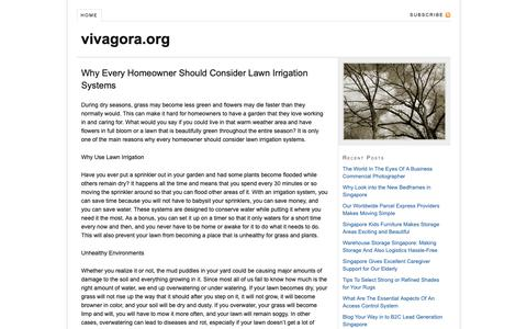Screenshot of Home Page vivagora.org - Why Every Homeowner Should Consider Lawn Irrigation Systems - captured Oct. 20, 2018