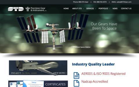 Screenshot of Home Page stdgear.com - STD Gear Inc. | Percision Gear - captured June 18, 2015