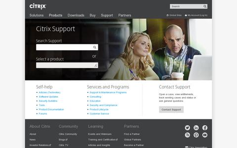 Screenshot of Support Page citrix.com - Support - Citrix - captured July 20, 2014