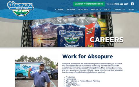 Screenshot of Jobs Page absopure.com - Careers | Absopure - captured March 29, 2018