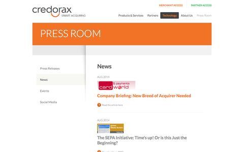 Screenshot of Press Page credorax.com - Payments News & Events | Credorax | Smart Acquiring - captured Sept. 13, 2014