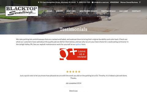 Screenshot of Testimonials Page mik-a-seal.com - Best Paving Company Near Me | Blacktop Sealing Corp | Allentown PA - captured Oct. 4, 2018