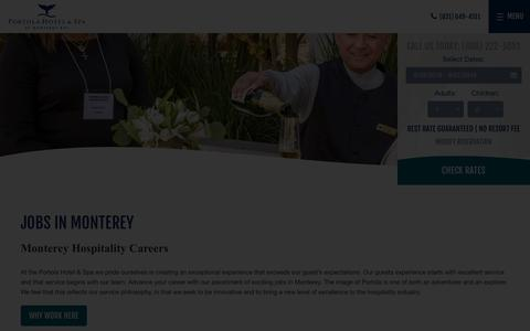Screenshot of Jobs Page portolahotel.com - Jobs in Monterey | Portola Hotel & Spa - captured Sept. 24, 2018