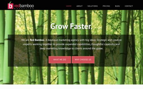 Screenshot of Home Page bamboointeractive.com - Marketing Strategy, Content & Technology | Red Bamboo Marketing - captured Sept. 30, 2014