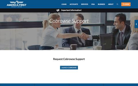 Screenshot of Support Page americafirst.com - Cobrowse Support- America First Credit Union - captured Nov. 25, 2016
