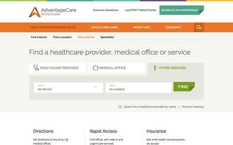 Screenshot of Services Page acpny.com - Medical Services Directory - NYC & Metropolitan Area | AdvantageCare Physicians - captured Nov. 10, 2016
