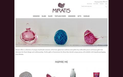 Screenshot of Home Page miratis.com - Homewares, Accessories & Gifts - collectable pieces & luxury gifts that showcase the finest design and craftsmanship | Miratis - captured Oct. 19, 2017
