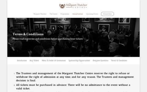 Screenshot of Terms Page thatchercentre.com - Terms & Conditions |  The Margaret Thatcher Centre - captured Dec. 1, 2016