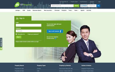 Screenshot of Login Page stproperty.sg - Singapore Property, Property for Rent/Sale, Singapore Property Classifieds - STProperty - captured July 25, 2018