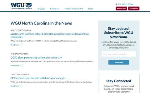 Screenshot of Press Page wgu.edu - WGU North Carolina in the News - captured May 27, 2019