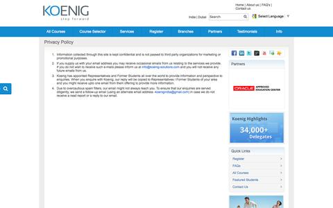 Screenshot of Privacy Page koenig-solutions.com - Privacy Policy - captured Sept. 18, 2014