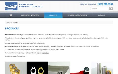 Screenshot of Products Page approvedaeronautics.com - Approved Aeronautics -  Products - captured Feb. 5, 2016