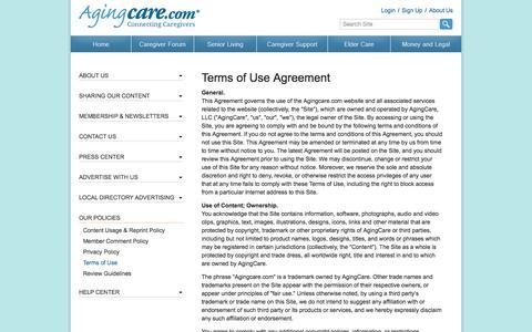 Screenshot of Terms Page agingcare.com captured Sept. 19, 2014