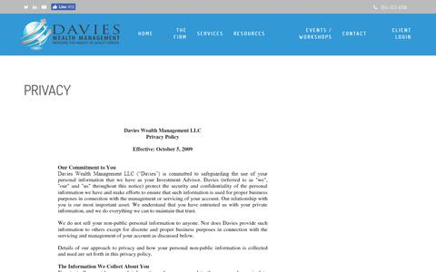 Screenshot of Privacy Page tdwealth.net - Privacy | Davies Wealth Management - captured Nov. 13, 2018