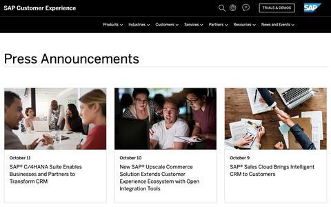 Screenshot of Press Page sap.com - Find SAP Customer Experience Press Announcements & Press Contacts | SAP Hybris - captured Oct. 29, 2018