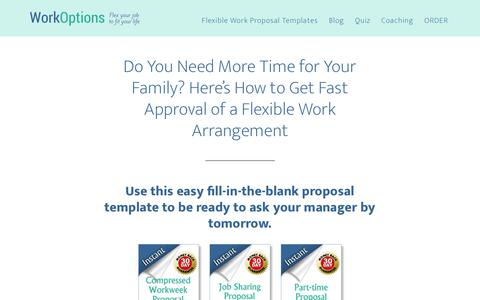 Screenshot of Home Page workoptions.com - How to Get Flexible Work Approved Fast at Your Current Job - captured June 13, 2018