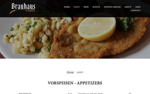 Screenshot of Menu Page brauhausschmitz.com - Menu — Brauhaus Schmitz - captured July 2, 2018