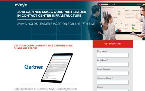 Screenshot of Landing Page avaya.com - 2018 Gartner Magic Quadrant Leader In Contact Center Infrastructure - Avaya - captured Sept. 21, 2018